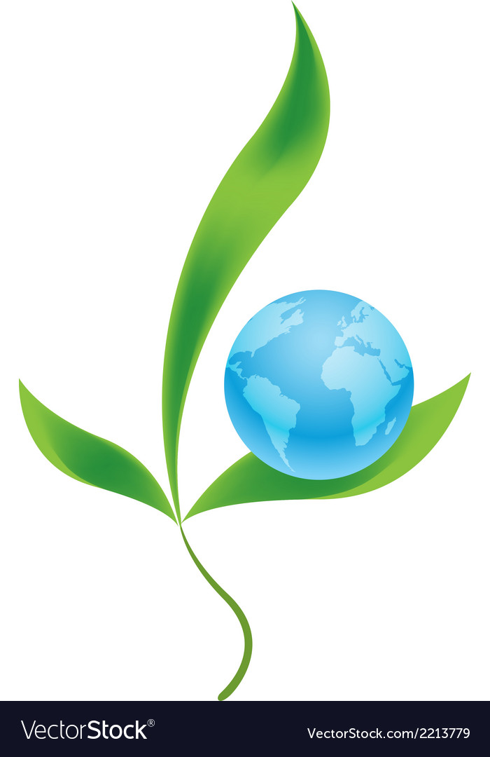 Planet earth with plants as symbol of environment vector | Price: 1 Credit (USD $1)