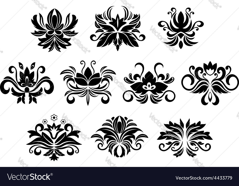 Retro floral and foliage design elements vector | Price: 1 Credit (USD $1)