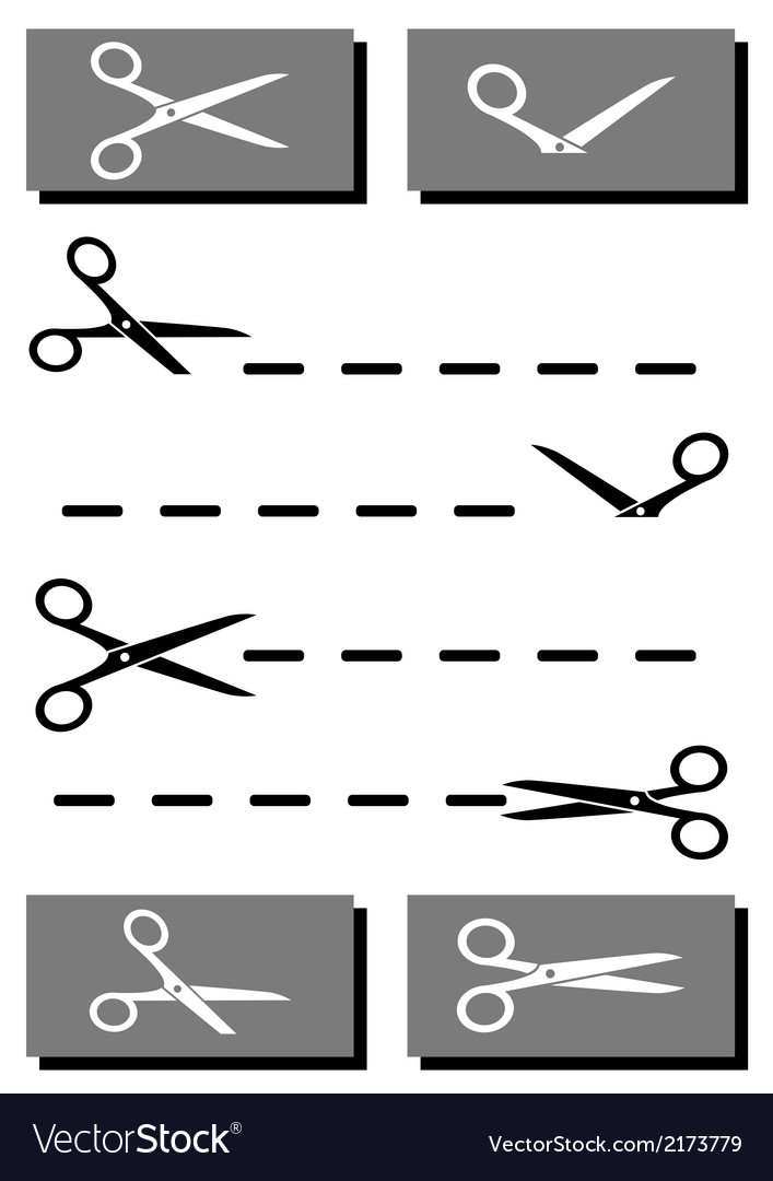 Set scissors with coupon and cut line vector | Price: 1 Credit (USD $1)