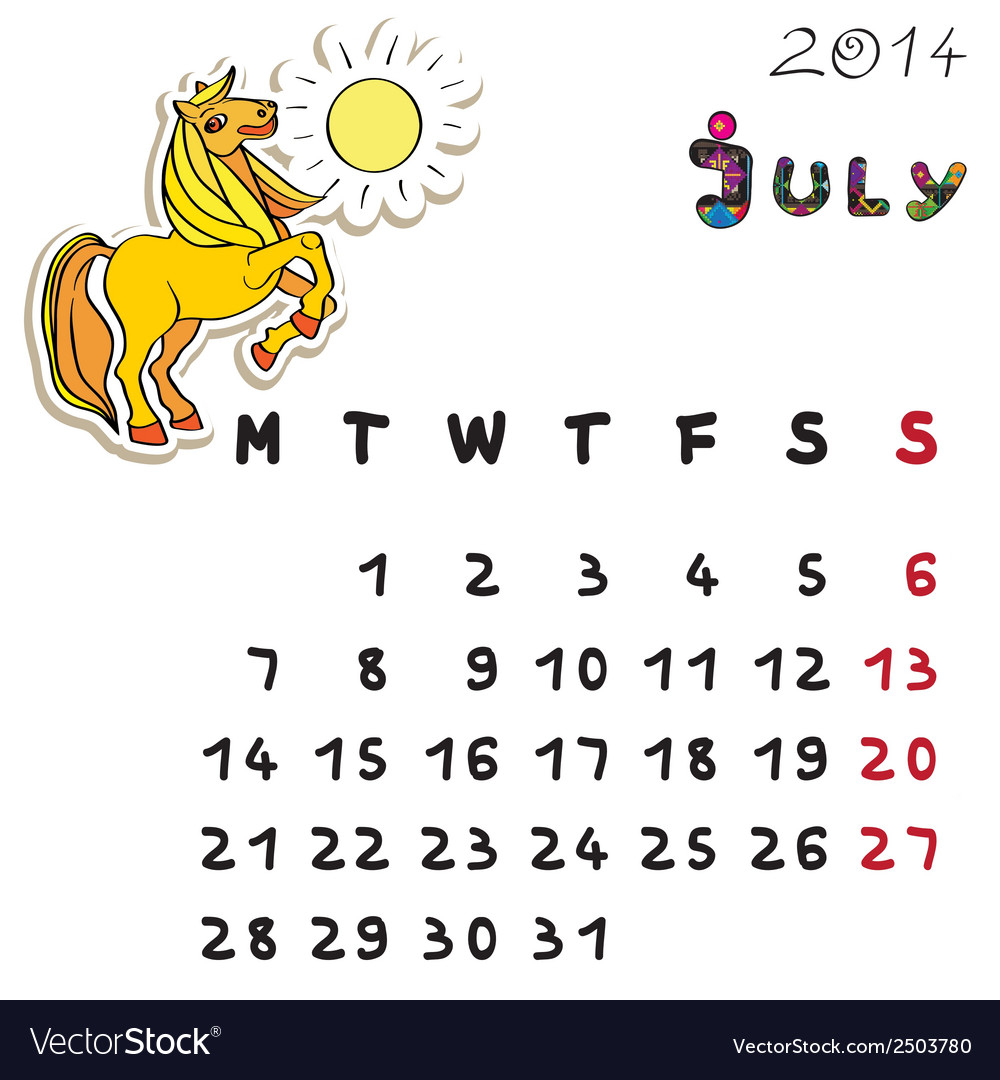 Color horse calendar 2014 july vector | Price: 1 Credit (USD $1)