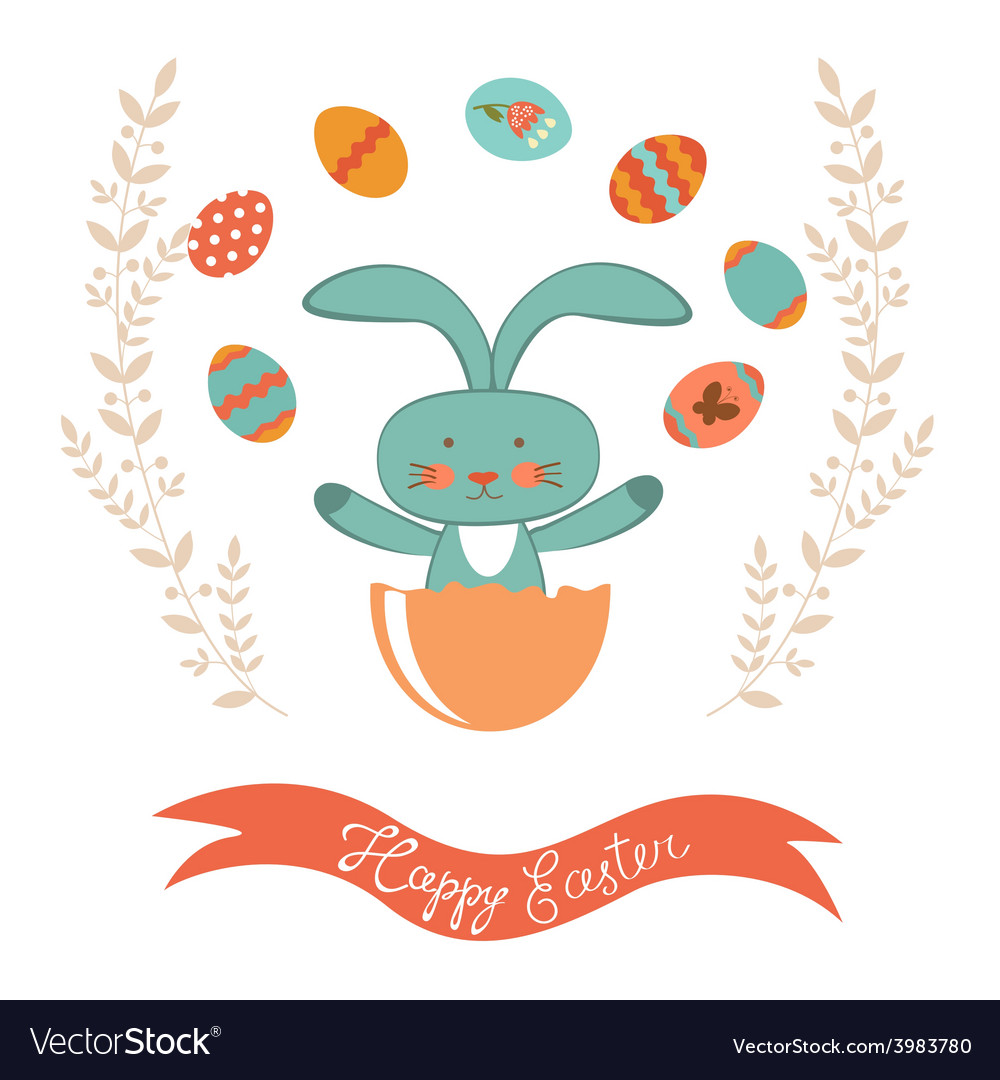 Easter card with rabbit hatching vector | Price: 1 Credit (USD $1)