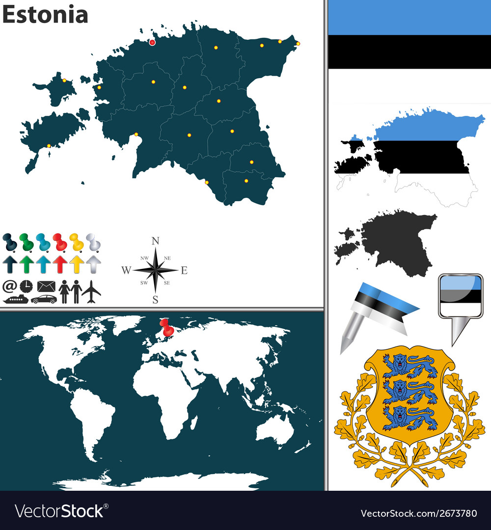 Estonia map world vector | Price: 1 Credit (USD $1)