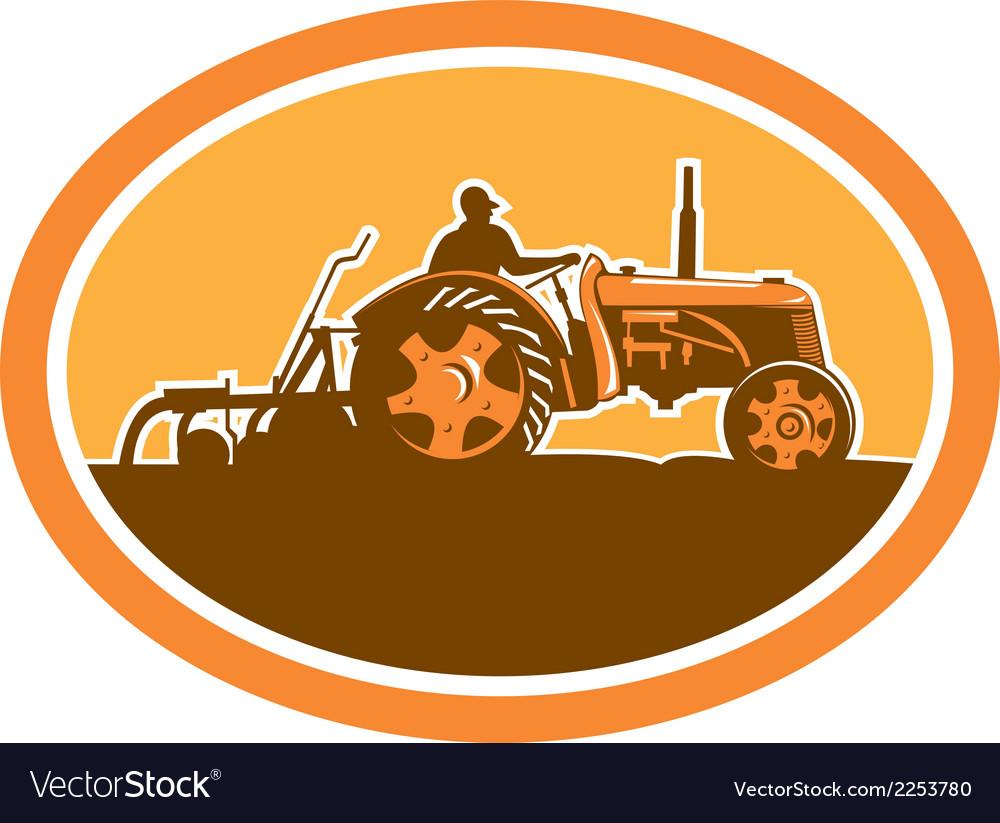 Farmer driving vintage farm tractor oval retro vector | Price: 1 Credit (USD $1)