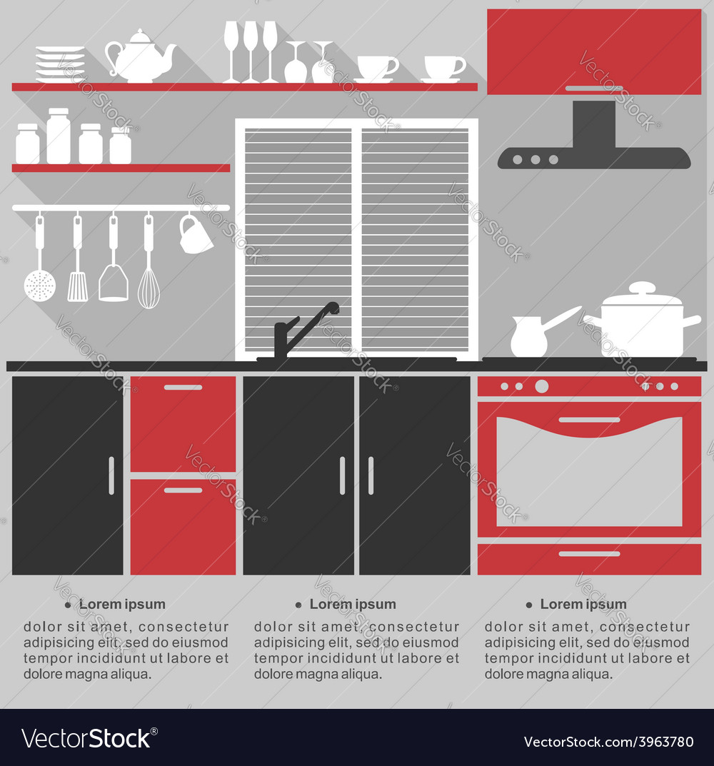 Flat infographic template for a kitchen interior vector | Price: 1 Credit (USD $1)