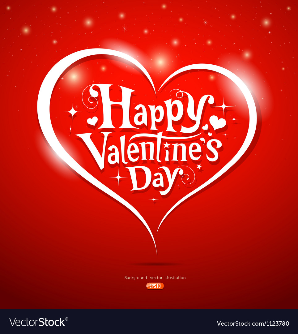 Happy valentine day lettering greeting card vector | Price: 1 Credit (USD $1)