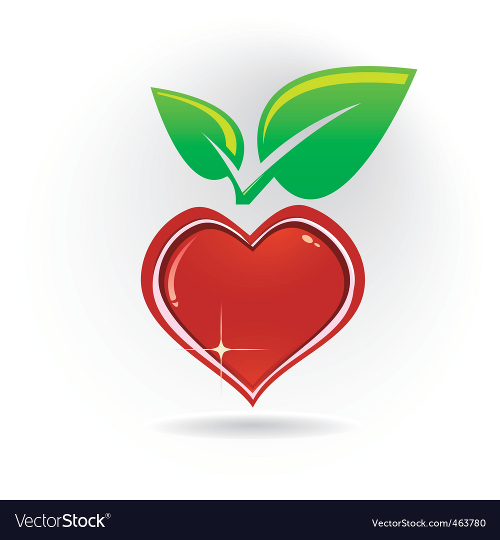 Heart with leaf vector | Price: 1 Credit (USD $1)