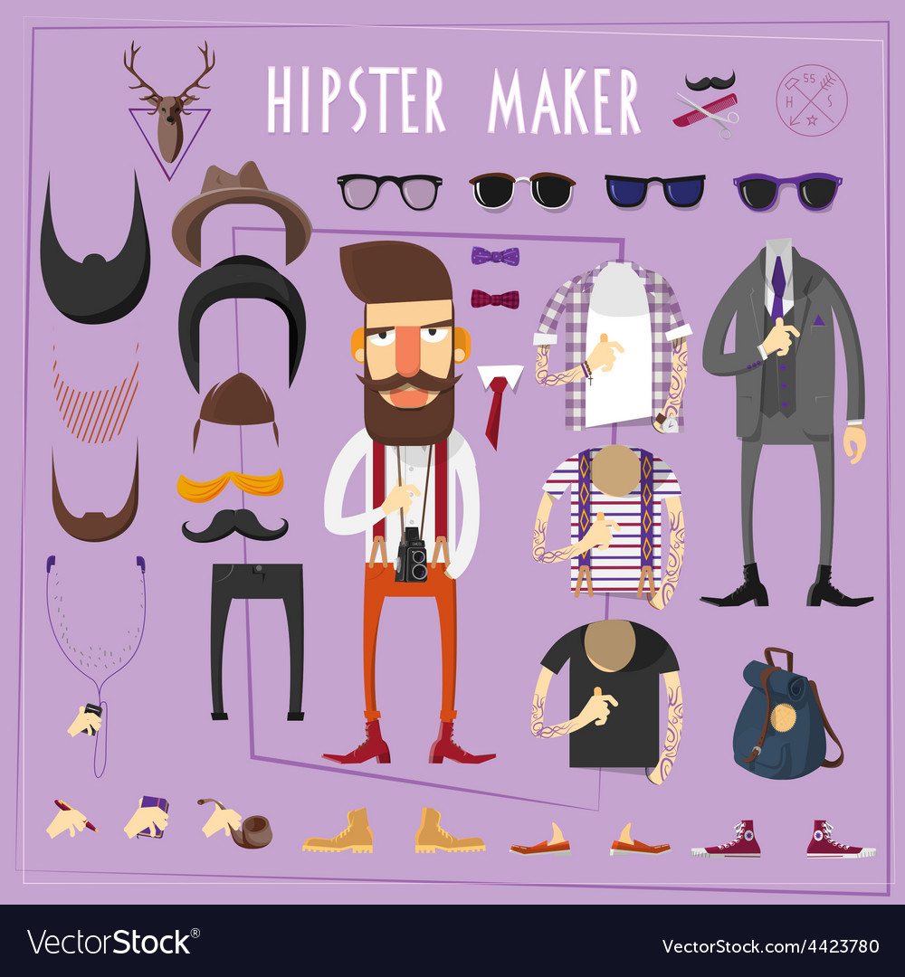 Hipster master creative constructor set vector | Price: 1 Credit (USD $1)