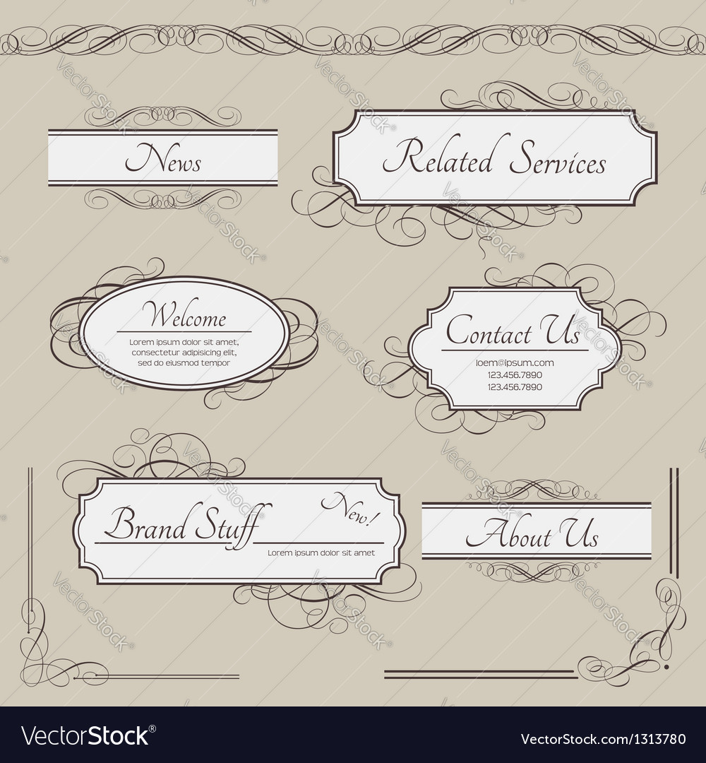 Set of vintage labels frames borders vector | Price: 1 Credit (USD $1)
