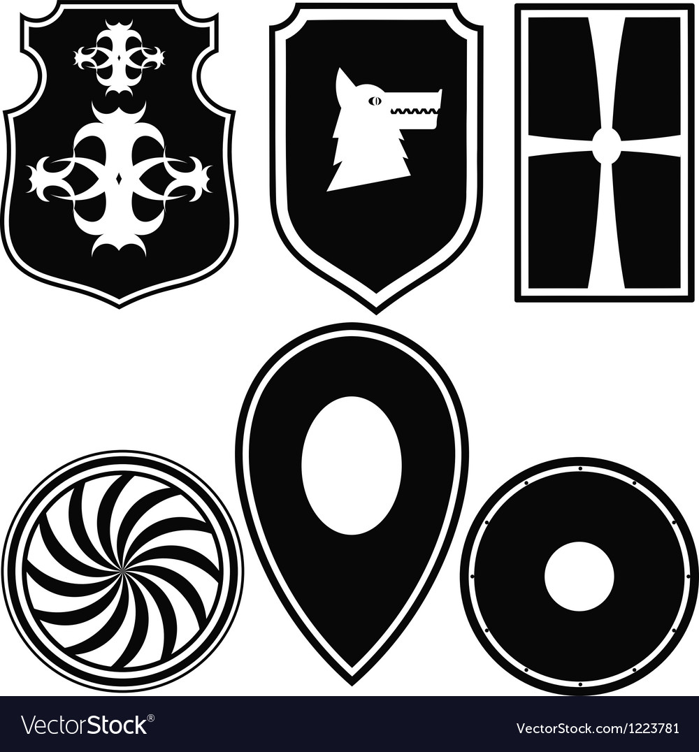 A set of silhouettes of military shields vector | Price: 1 Credit (USD $1)