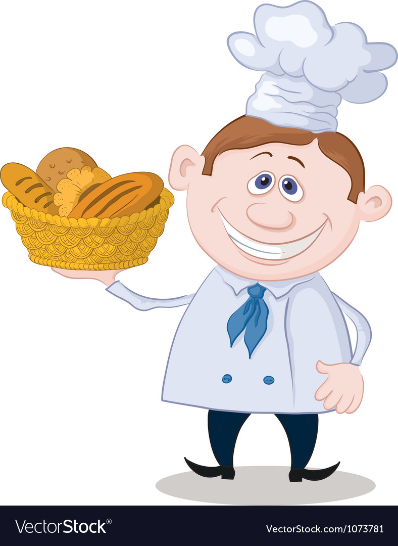 Baker with a basket of bread vector | Price: 3 Credit (USD $3)