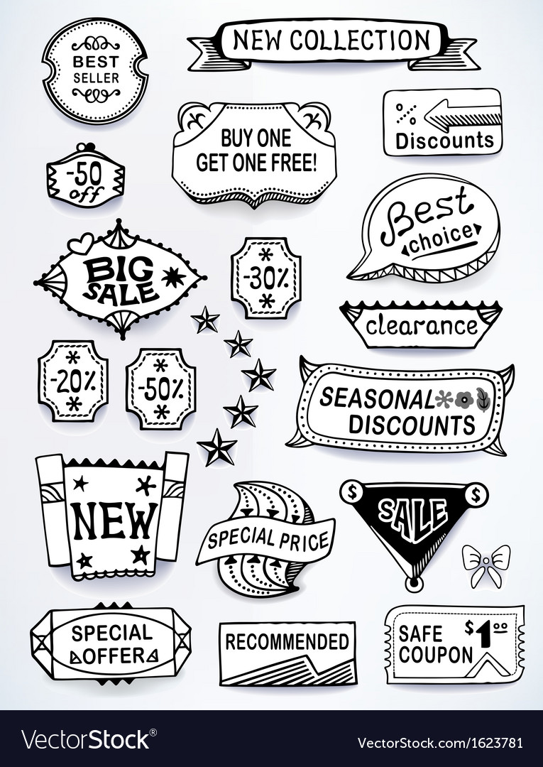 Black-white set of promotional english labels vector | Price: 1 Credit (USD $1)