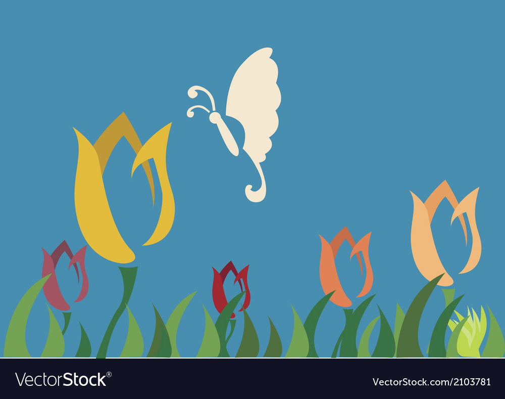 Butterfly choose tulip flower vector | Price: 1 Credit (USD $1)