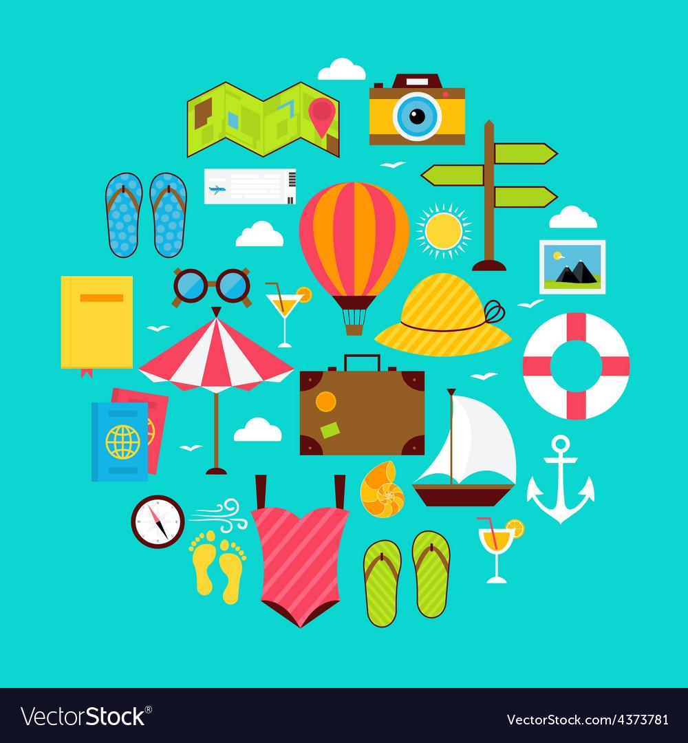 Flat summer vacation icon circle shaped set vector | Price: 1 Credit (USD $1)