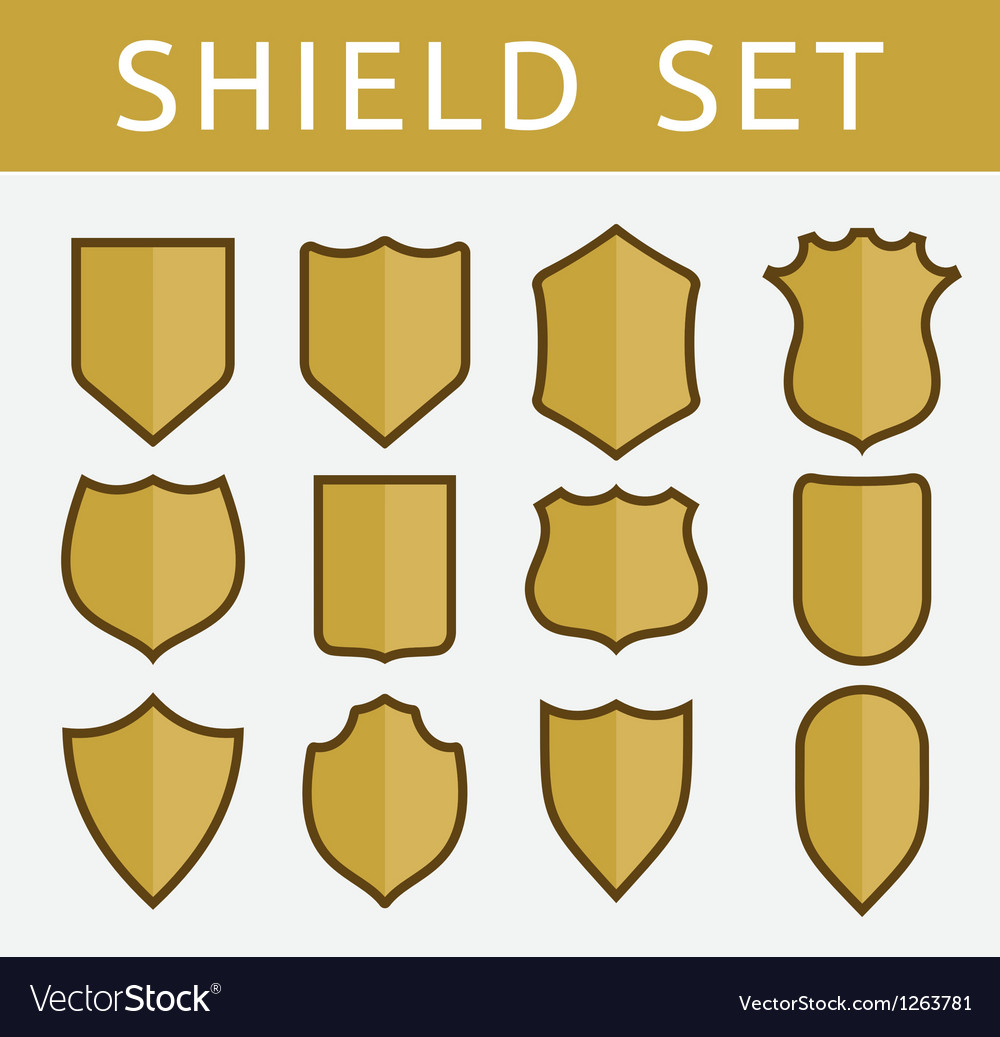 Gold shield set vector | Price: 1 Credit (USD $1)