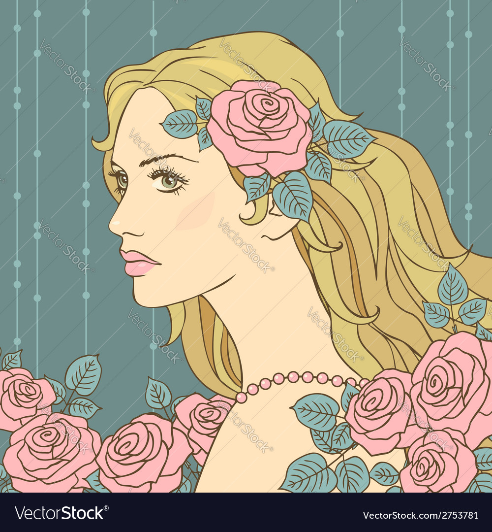 Hair girl rose vector | Price: 1 Credit (USD $1)