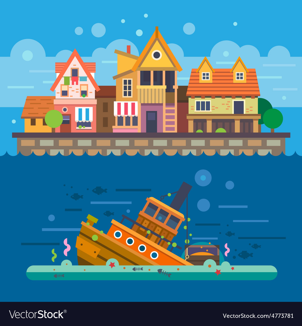 Houses by the sea vector   Price: 3 Credit (USD $3)