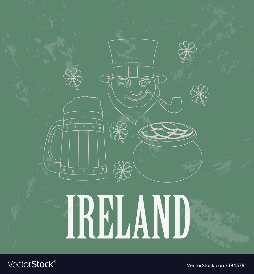 Ireland landmarks retro styled image vector | Price: 1 Credit (USD $1)