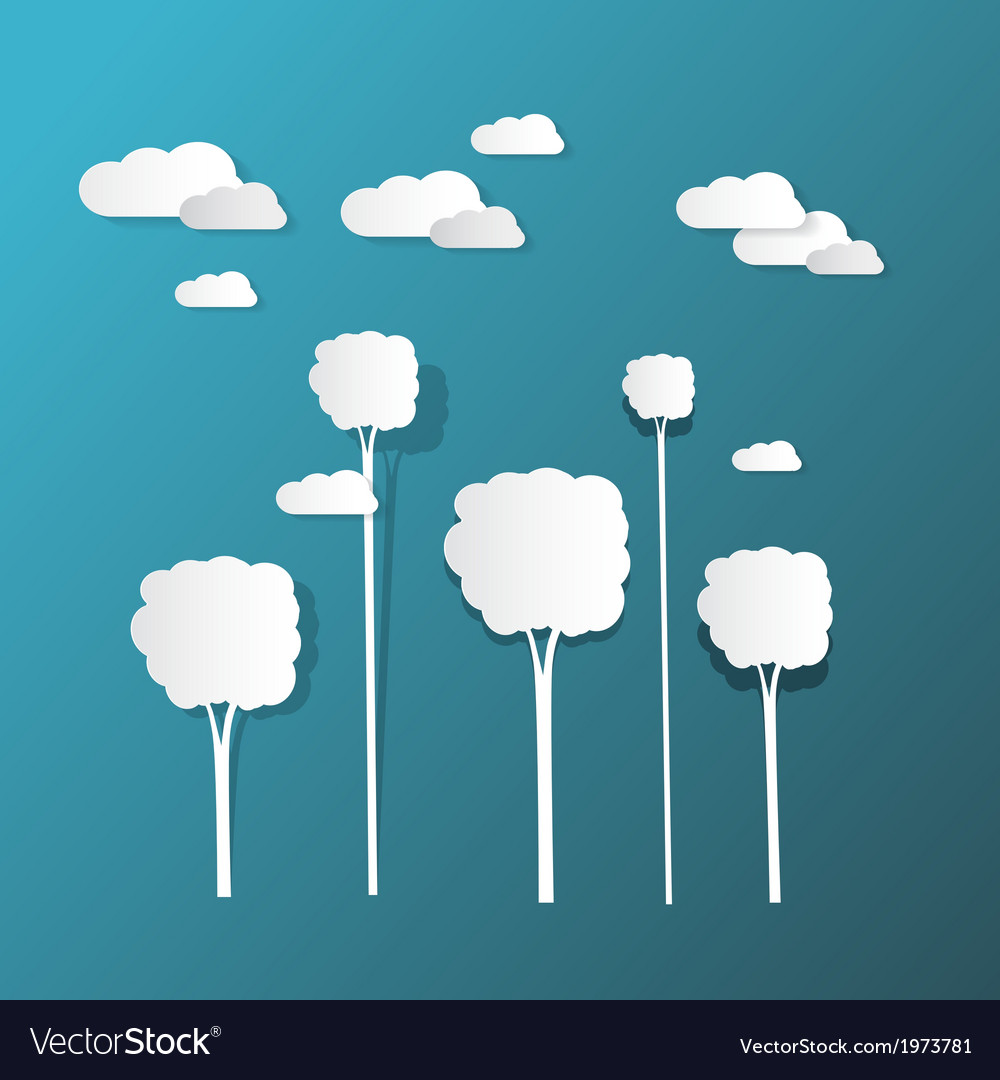 Paper clouds and trees on blue background vector | Price: 1 Credit (USD $1)