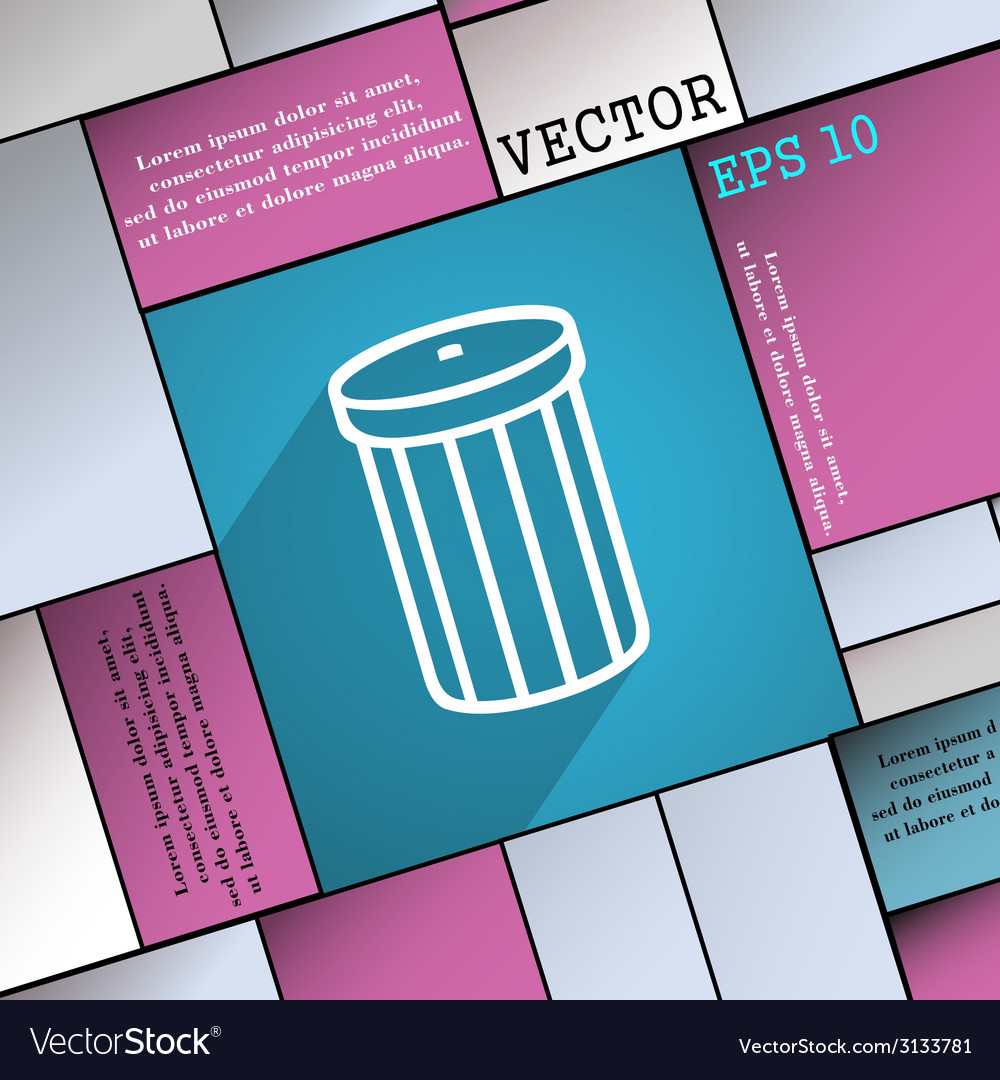 Recycle bin icon symbol flat modern web design vector | Price: 1 Credit (USD $1)