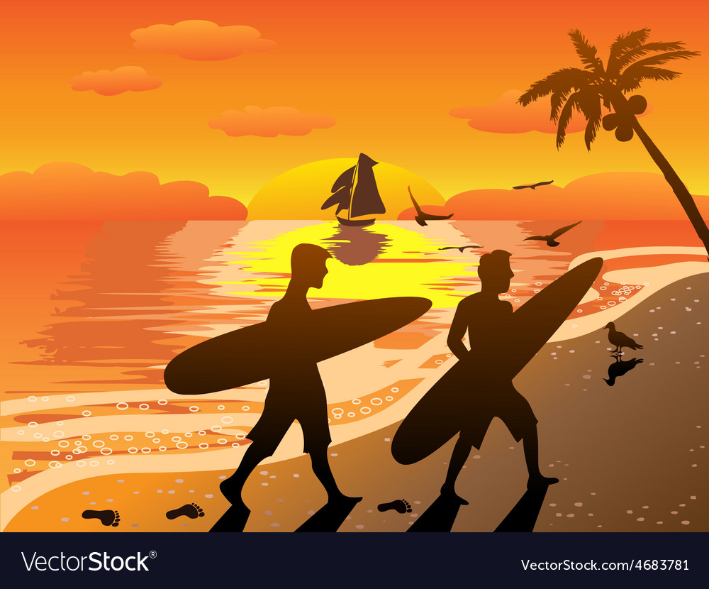Sunset beach surfers vector | Price: 3 Credit (USD $3)