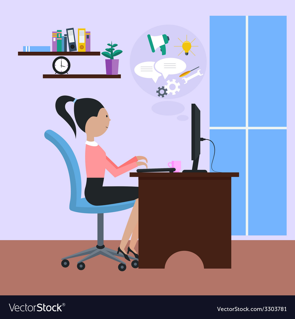 Woman sitting on chair at table in front omputer vector | Price: 1 Credit (USD $1)