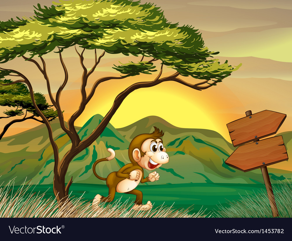A monkey running with a wooden arrow board vector | Price: 1 Credit (USD $1)