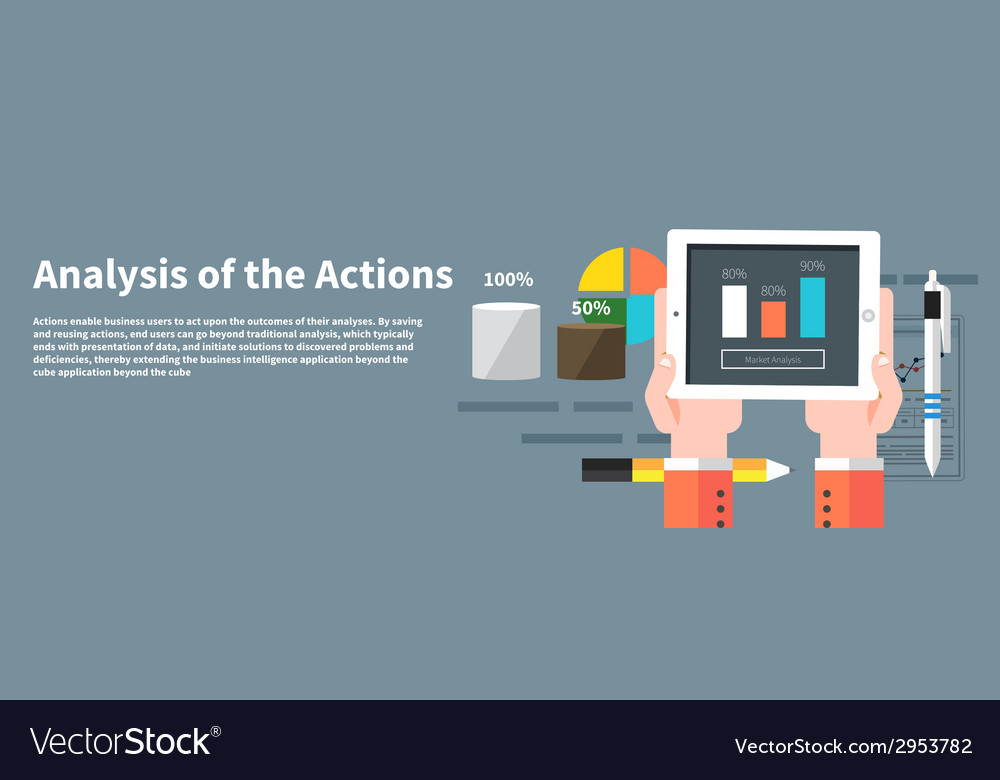 Analysis actions concept of businessman using vector | Price: 1 Credit (USD $1)
