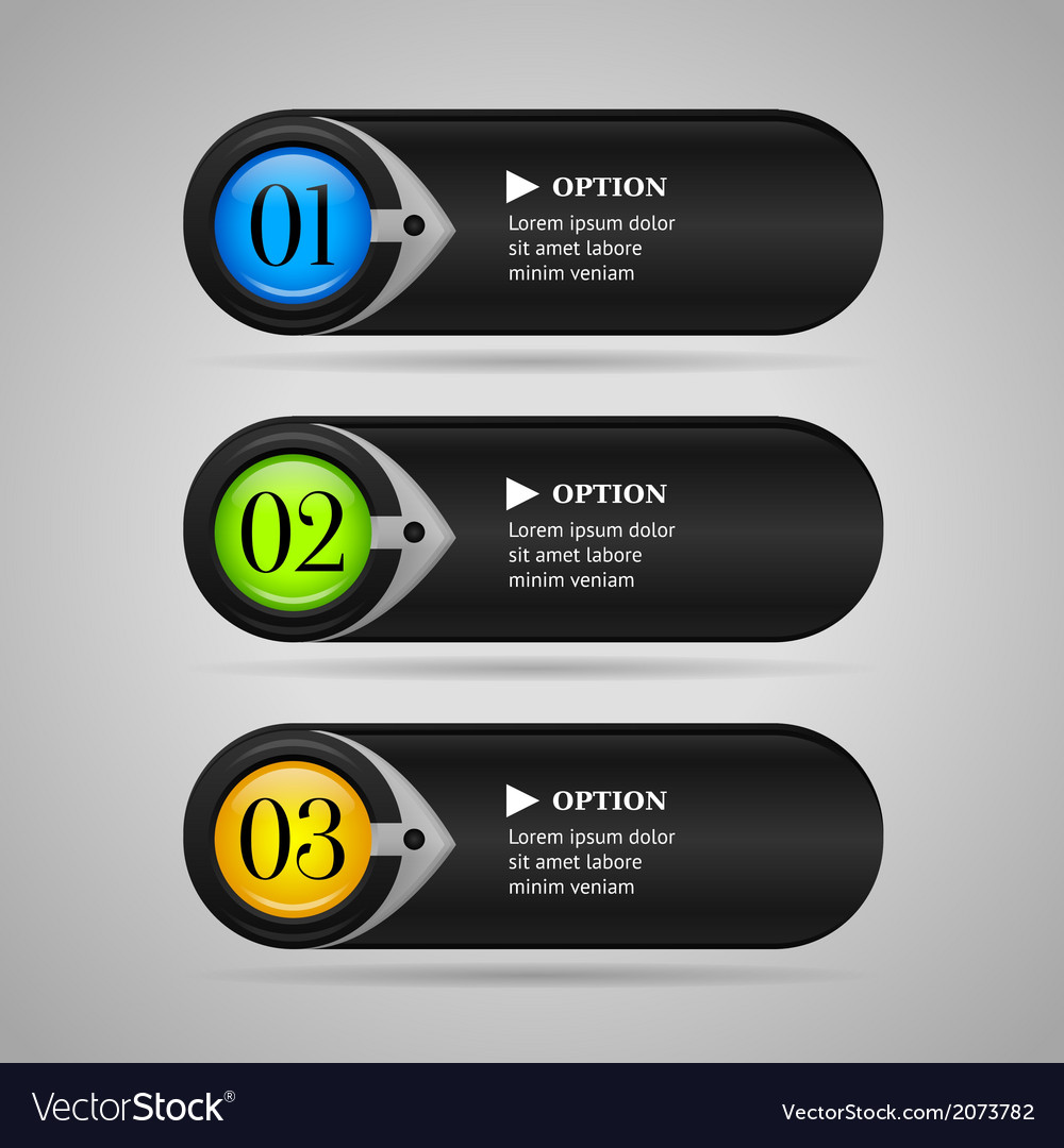 Black colorful options banners or buttons vector | Price: 1 Credit (USD $1)
