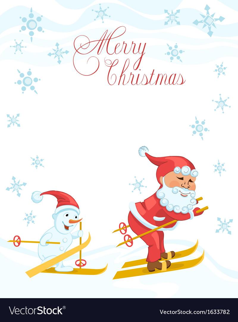 Christmas cartoon card with skiing santa vector | Price: 1 Credit (USD $1)