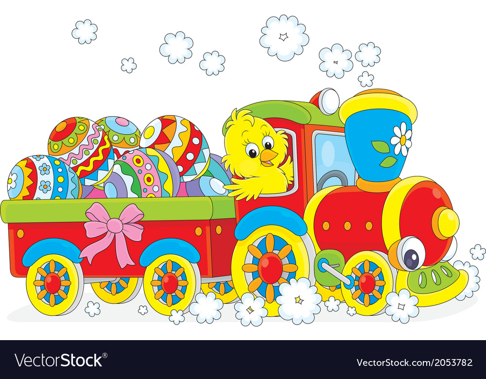 Easter chick on a train vector | Price: 1 Credit (USD $1)