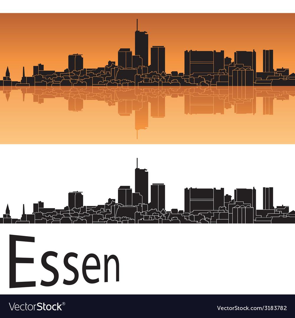 Essen skyline in orange background vector | Price: 1 Credit (USD $1)