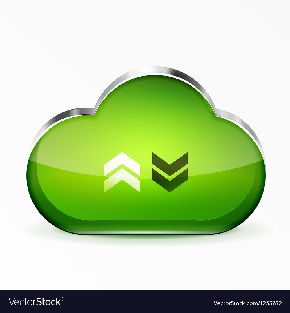 Green modern 3d glass cloud icon vector | Price: 1 Credit (USD $1)