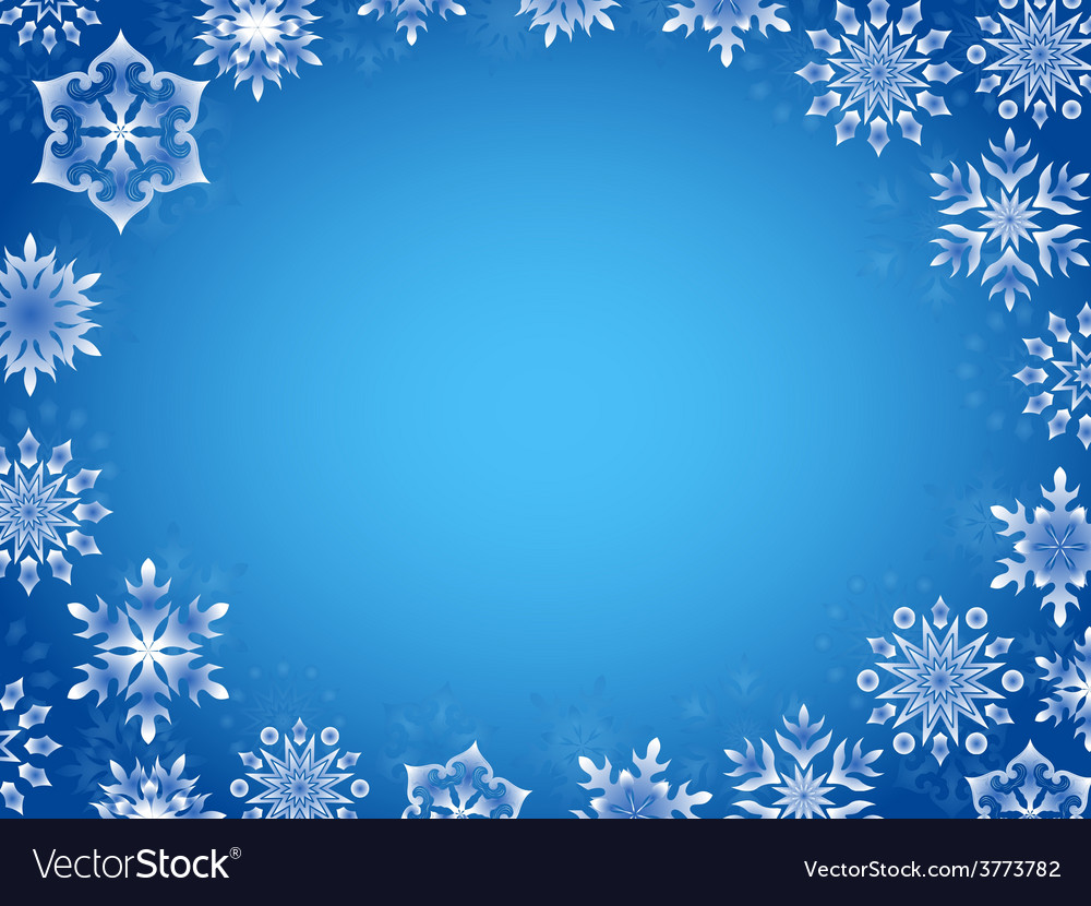 Greeting card with azure snowflakes vector | Price: 1 Credit (USD $1)