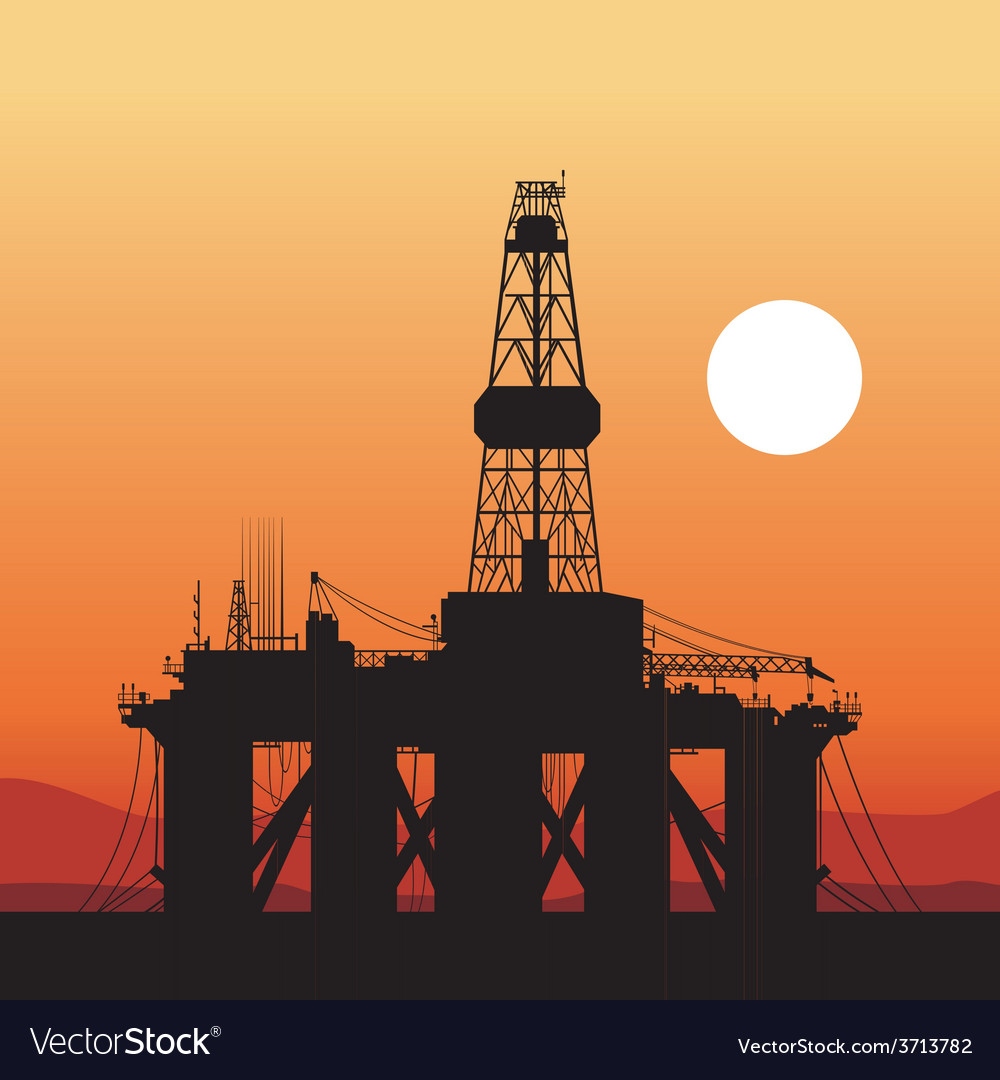 Oil rigs ship and sunset in the ocean vector | Price: 1 Credit (USD $1)