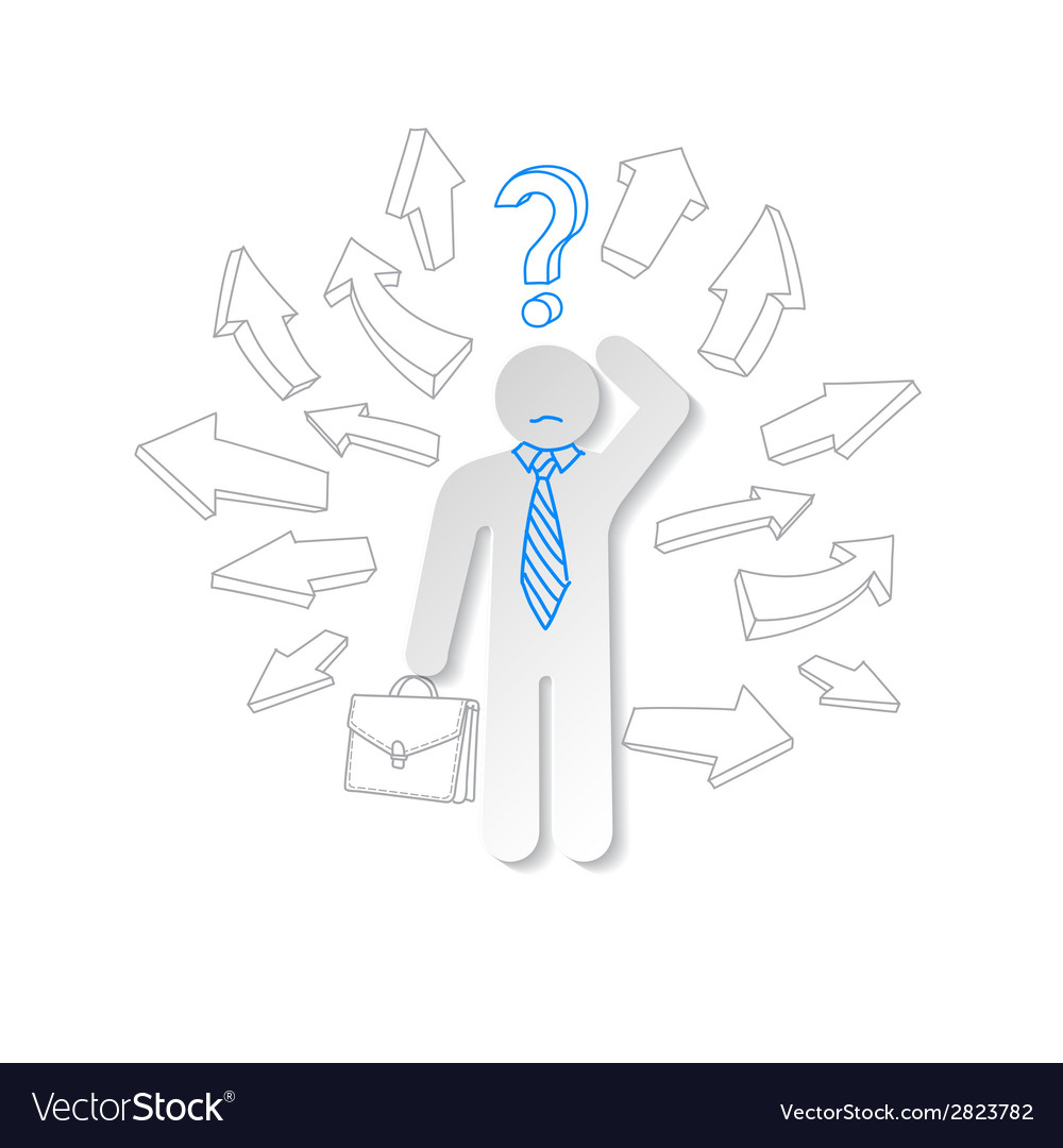 Paper man arrow and question mark business concept vector | Price: 1 Credit (USD $1)