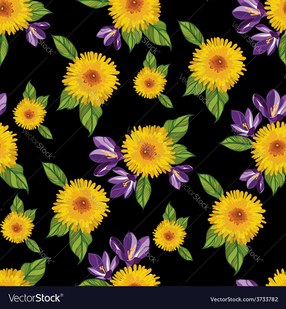Seamless floral pattern with tropical flowers vector   Price: 1 Credit (USD $1)
