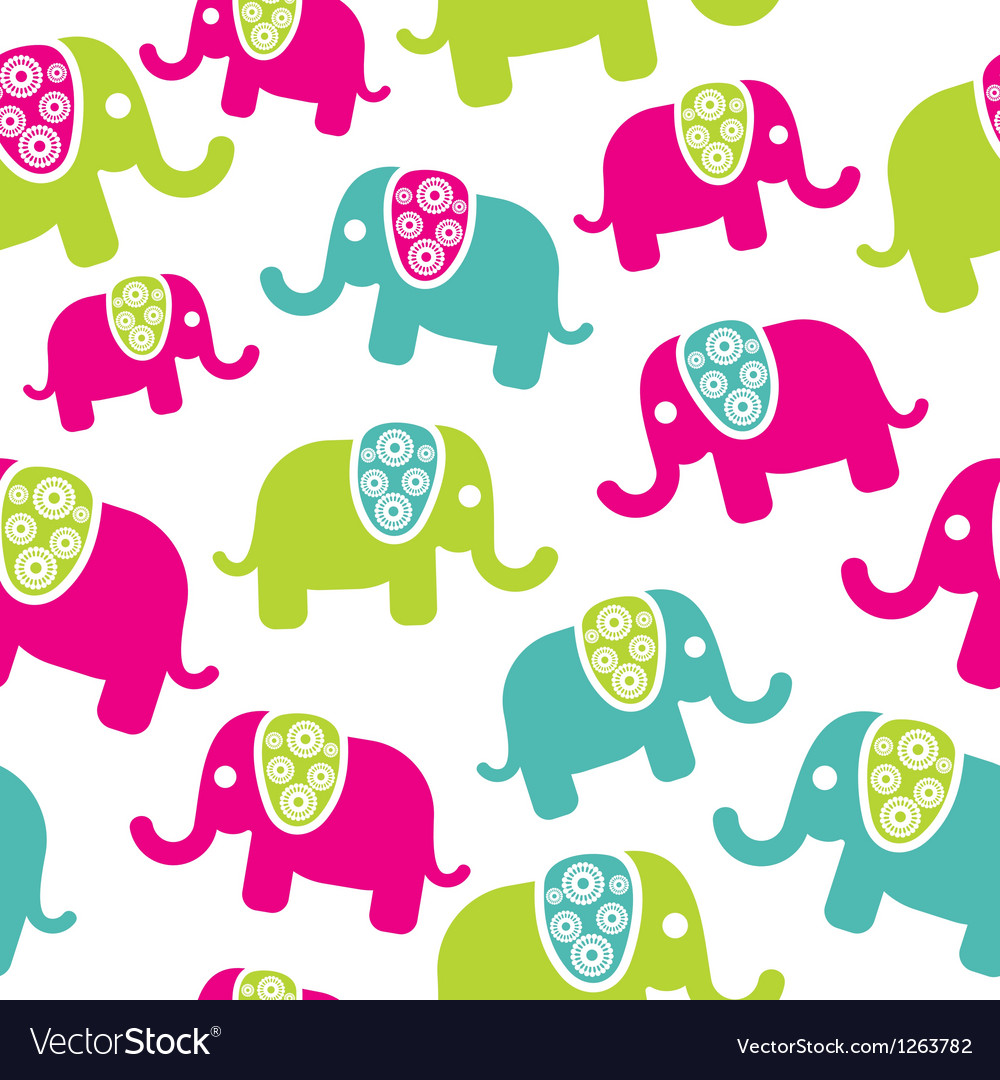 Seamless retro elephant pattern vector | Price: 1 Credit (USD $1)