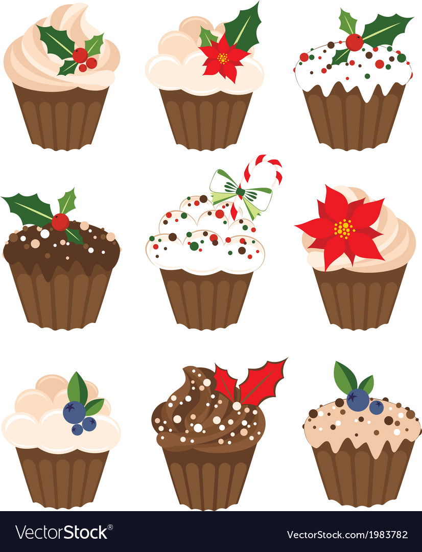 Set of christmass muffins vector | Price: 1 Credit (USD $1)
