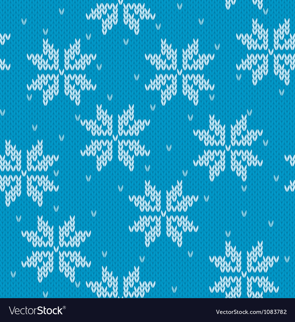 Snowflakes on knitted background vector | Price: 1 Credit (USD $1)