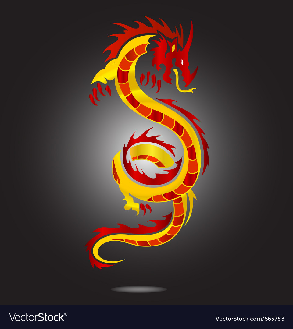 Asia dragon sign red color isolated vector | Price: 1 Credit (USD $1)