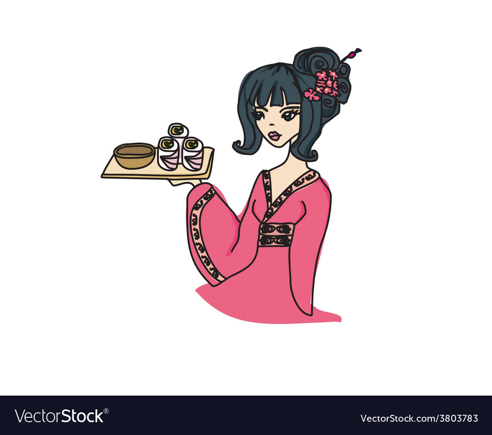 Asian girl enjoys sushi vector | Price: 1 Credit (USD $1)