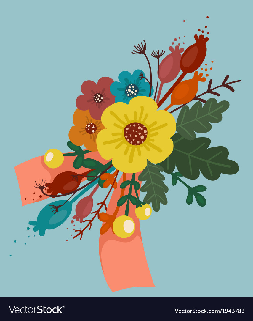 Bright flowers bouquet with ribbon vector | Price: 1 Credit (USD $1)