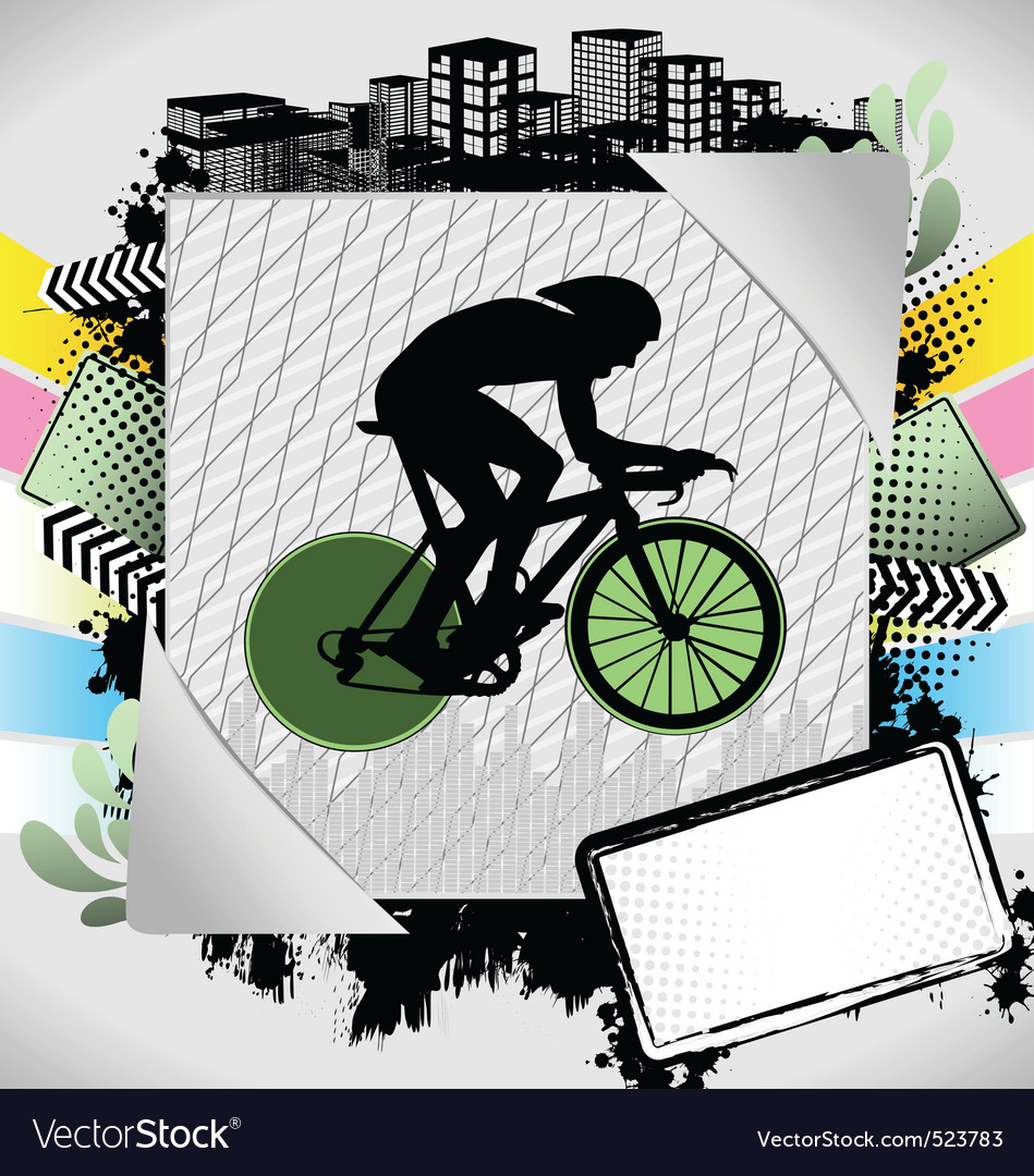 Cyclist summer frame vector | Price: 1 Credit (USD $1)