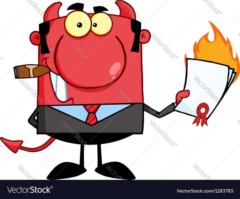 Devil boss holding a flaming bad contract vector | Price: 1 Credit (USD $1)