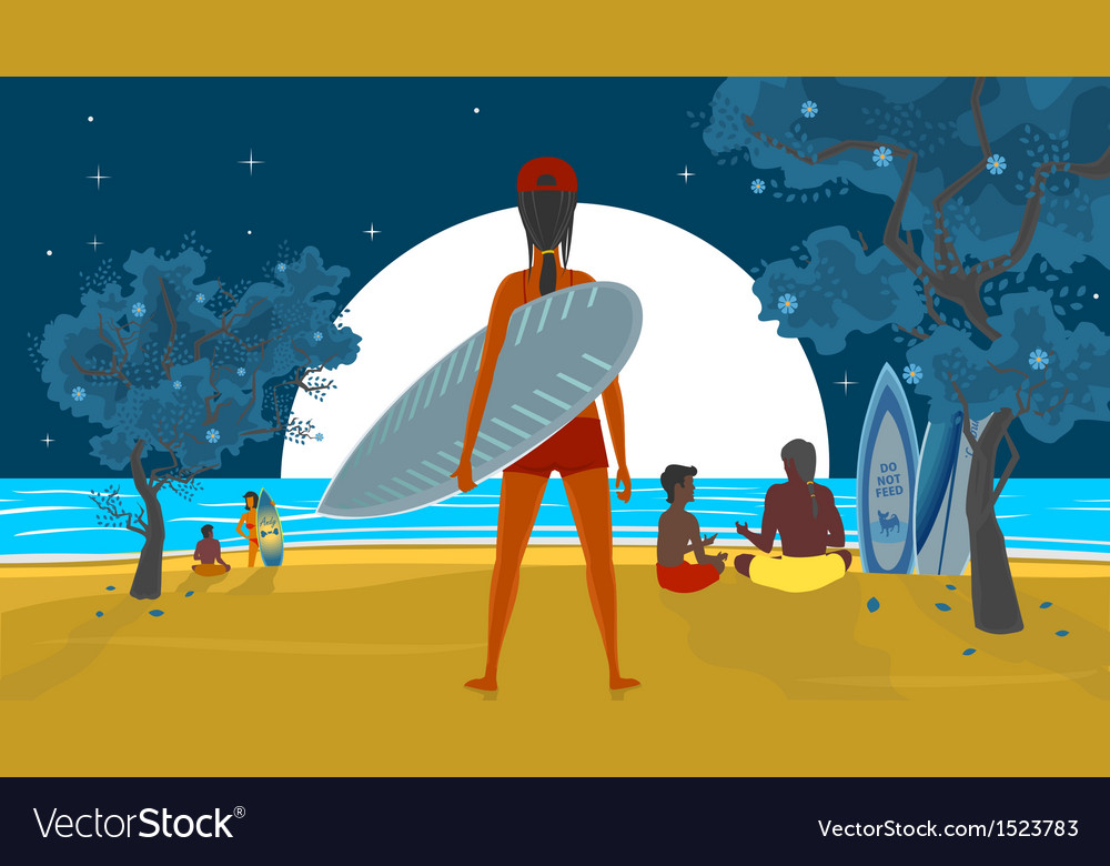 Girl and a surfboard vector | Price: 3 Credit (USD $3)