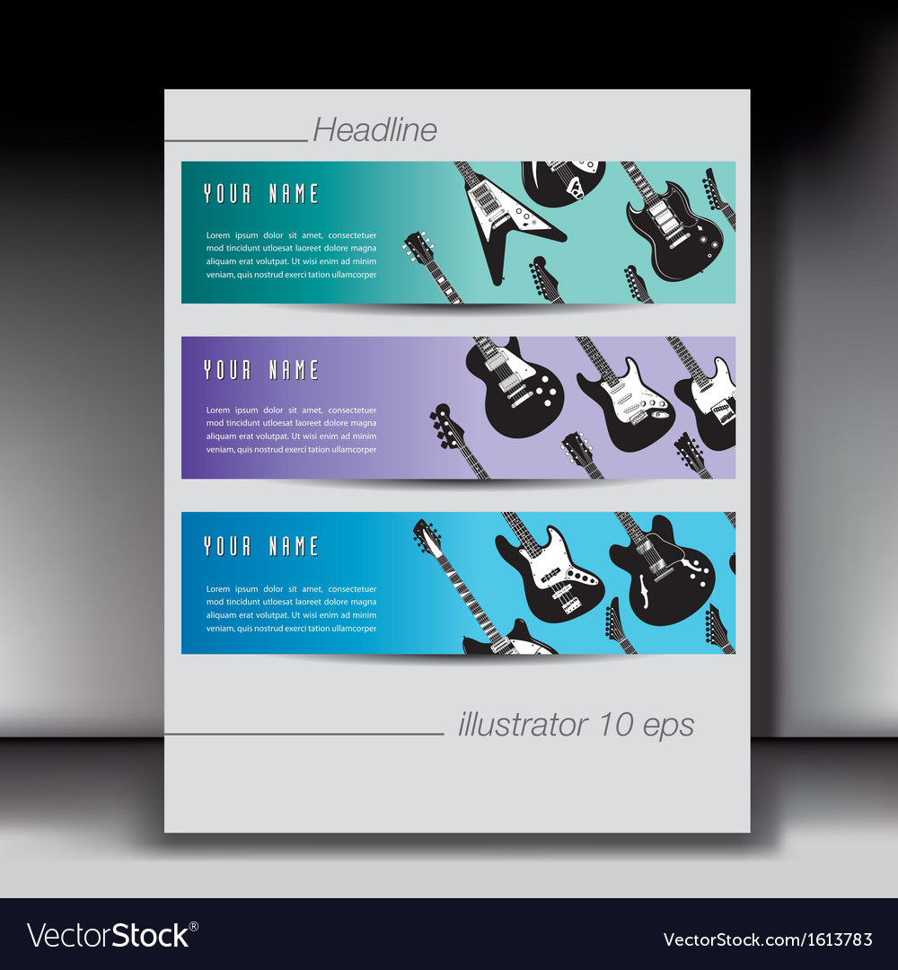 Guitar banners with gray border vector | Price: 1 Credit (USD $1)