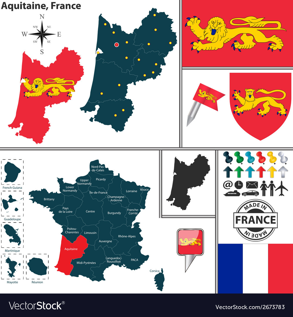 Map of aquitaine vector | Price: 1 Credit (USD $1)