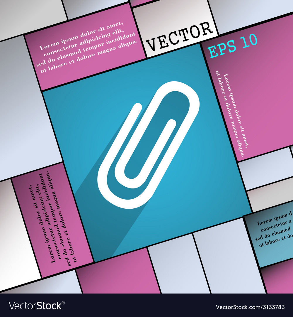 Paper clip icon symbol flat modern web design with vector | Price: 1 Credit (USD $1)
