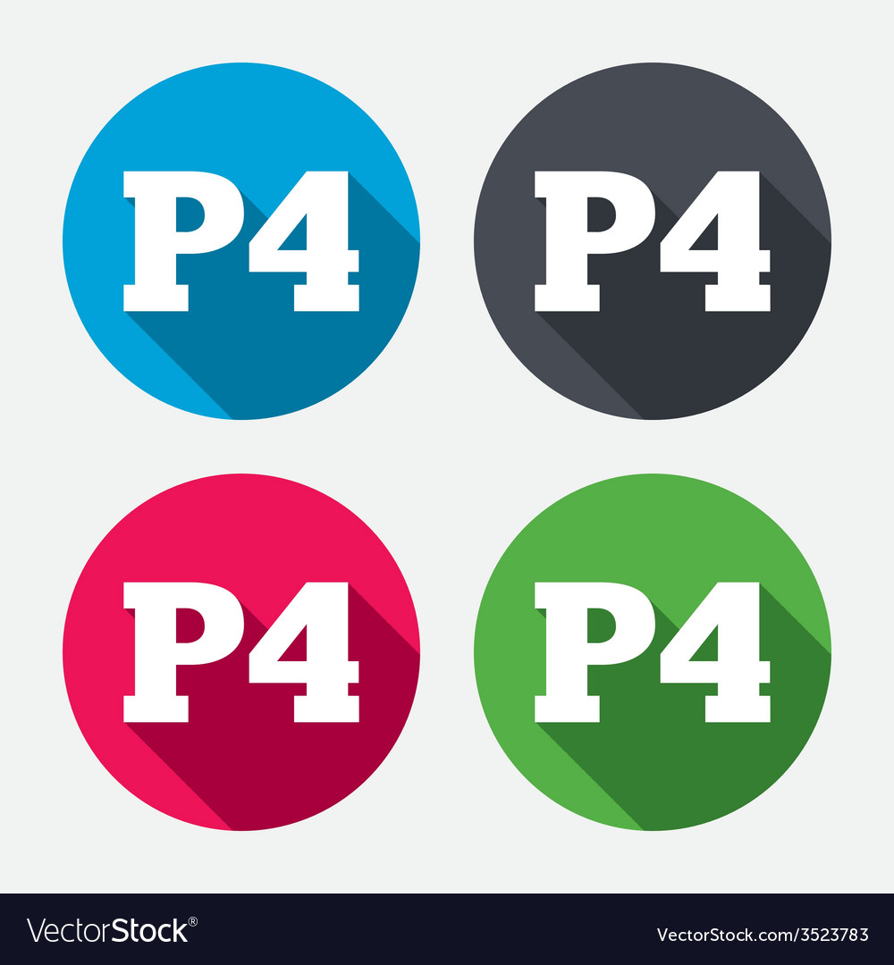 Parking fourth floor icon car parking p4 symbol vector | Price: 1 Credit (USD $1)