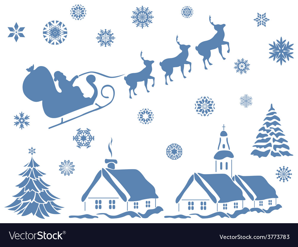 Set of christmas design elements vector | Price: 1 Credit (USD $1)
